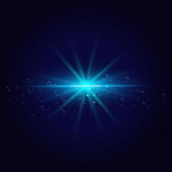 Lignes de lumière bleu abstraites isolés sur fond transparent