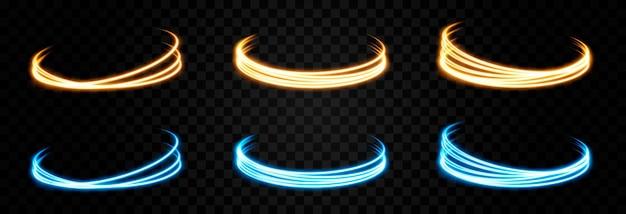 Lignes de lumière rougeoyante de vecteur effet de lumière de portail de lumière électrique au néon