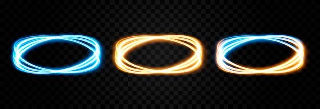 Lignes de lumière rougeoyante vecteur néon lumière électrique portail effet de lumière png