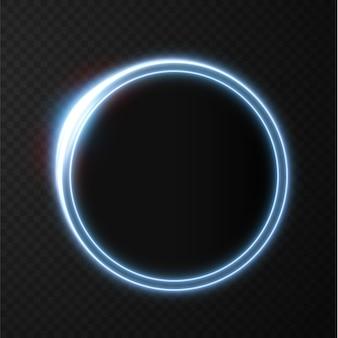 Lignes lumineuses abstraites au néon tourbillonnant dans une spirale