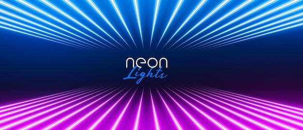 Lignes lumineuses au néon en perspective élégante de couleur bleue et violette