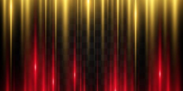Lignes lumineuses sur fond sombre. les faisceaux laser brillent. bandes lumineuses sur fond sombre.