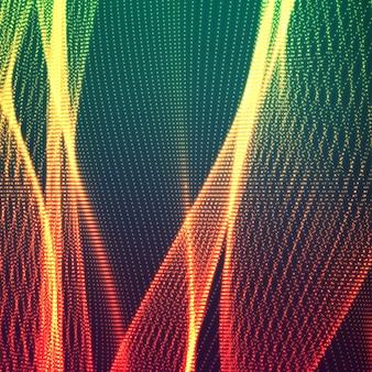Lignes lumineuses ondulées de particules