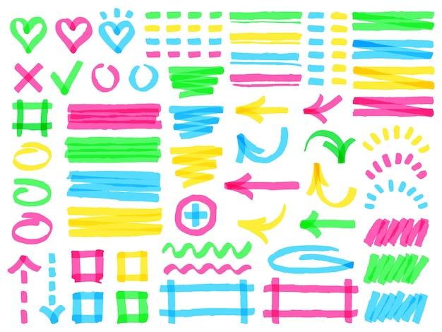 Lignes de marqueur de surbrillance colorées