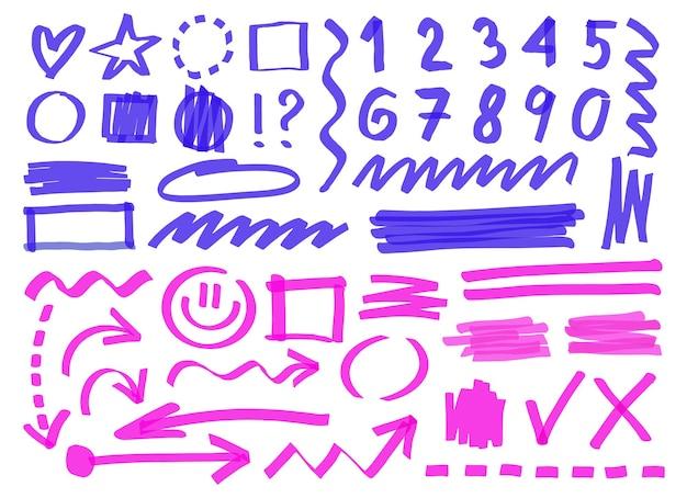 Lignes de marqueurs dessinés à la main, nombres, symboles. illustration de dessin animé