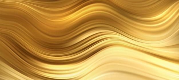 Lignes mobiles dorées brillantes de vagues abstraites d'or
