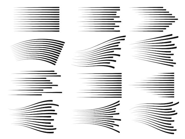 Lignes de mouvement de vitesse horizontale. vecteur de ligne rapide isolé