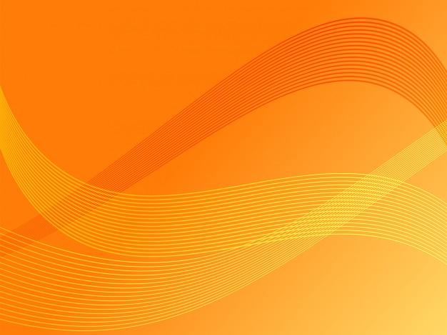 Lignes ondulées abstraites avec fond orange