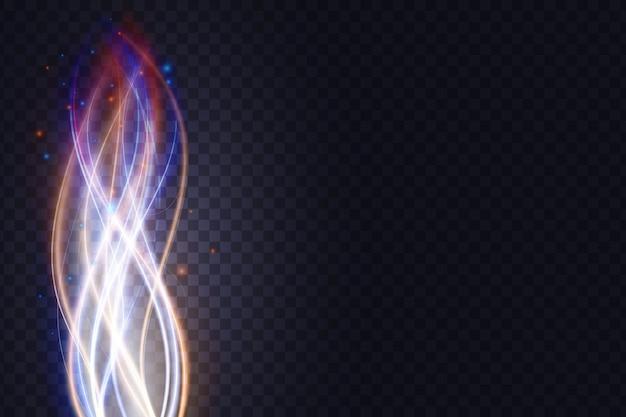 Lignes ondulées d'énergie lumineuse effet de lumière abstraite ondes de flux verticaux néon lumineux