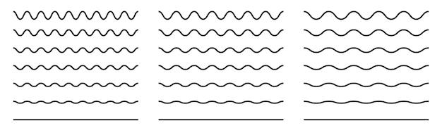 Lignes ondulées ondulées vagues ondulées définies ligne vectorielle ondulée