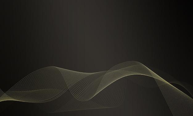 Lignes ondulées or abstraites sur fond sombre. modèle de bannière.