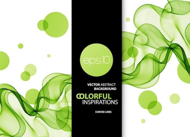 Lignes ondulées vertes abstraites. fond coloré