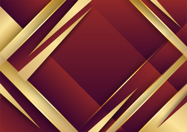 Les lignes d'or abstraites modèlent la technologie commerciale sur fond de dégradés rouges.