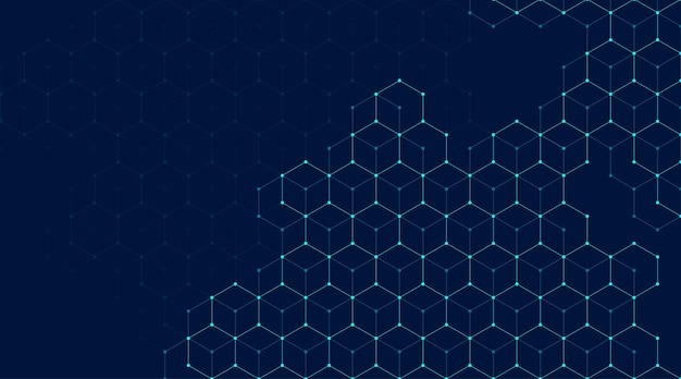 Des lignes et des points abstraits relient l'arrière-plan avec des hexagones. les hexagones connectent les données numériques et le concept de big data. visualisation de données numériques hex. illustration vectorielle.