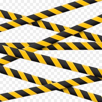 Lignes de prudence isolées. bandes d'avertissement. signes de danger.