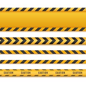 Lignes de prudence isolées. bandes d'avertissement.