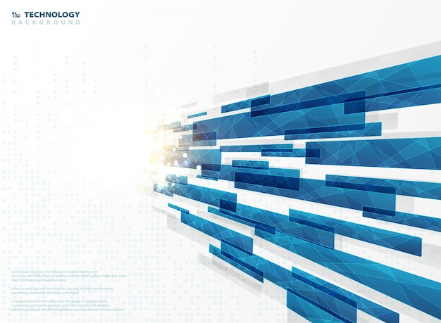 Lignes de rayures de technologie abstraite bleue carré géométrique avec décoration évasée