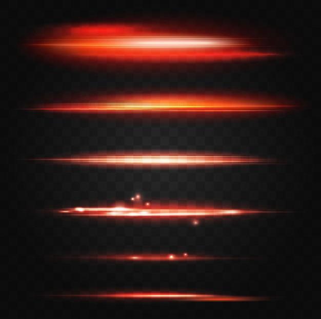 Les lignes rouges illuminées au néon effet de lumière parasite abstrait ensemble d'éléments de conception d'interface utilisateur brillent