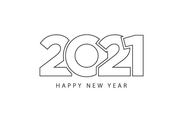 Lignes de style simple bonne année 2021 thème blanc noir. illustration vectorielle.