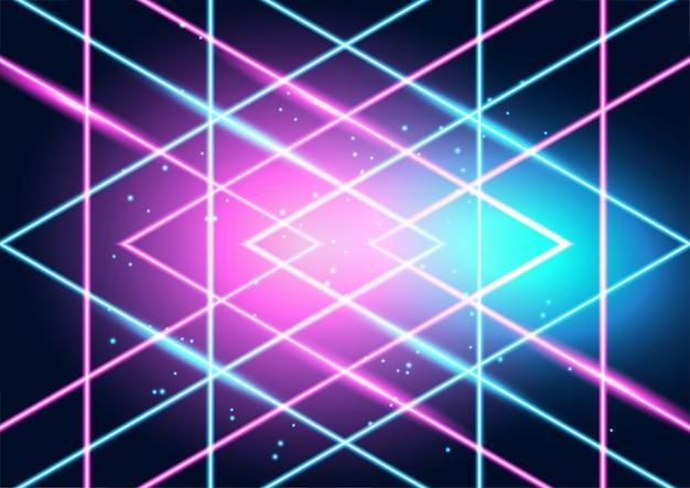 Lignes de techno rougeoyantes au néon, fond abstrait futuriste de haute technologie