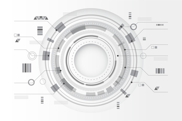 Lignes de technologie circulaire fond blanc