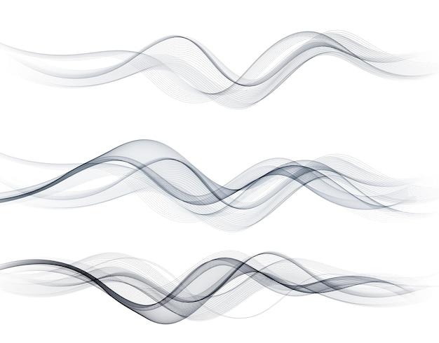 Lignes De Vague Fluide Abstraites Vectorielles Isolées Sur L'élément De Conception De Fond Blanc Pour Le Concept Moderne De Science De La Technologie Vecteur Premium