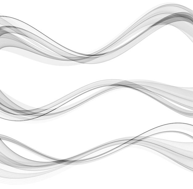 Lignes De Vague Fluide Abstraites Vectorielles Isolées Sur L'élément De Conception De Fond Blanc Pour La Science De La Technologie Vecteur Premium