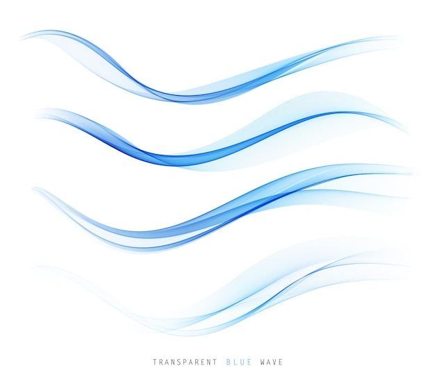 Lignes de vague fluide colorée bleue abstraite de vecteur isolés sur fond blanc