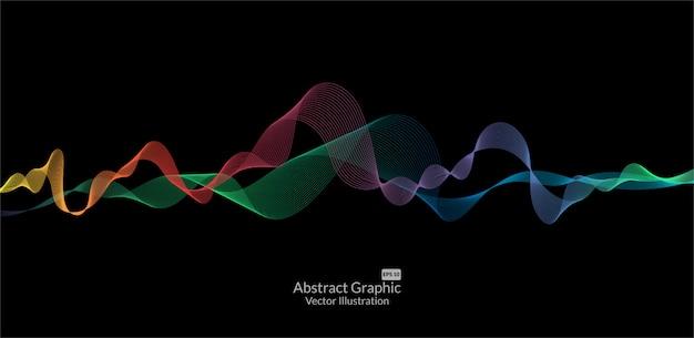 Lignes de vagues colorées abstraites sur fond noir
