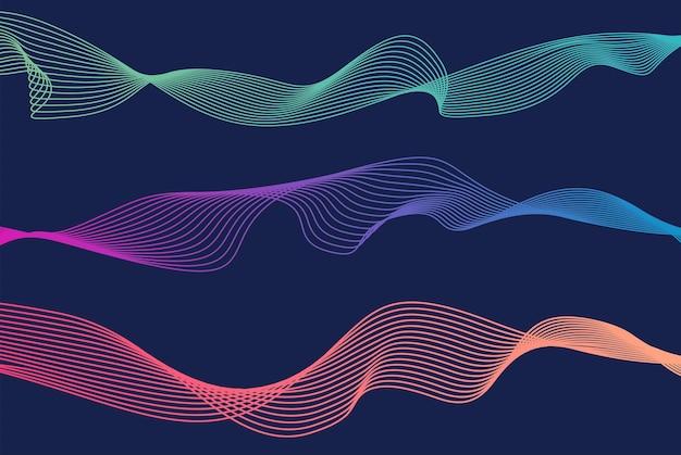 Lignes de vagues colorées fond bleu isolé ligne ondulée incurvée abstrait vague