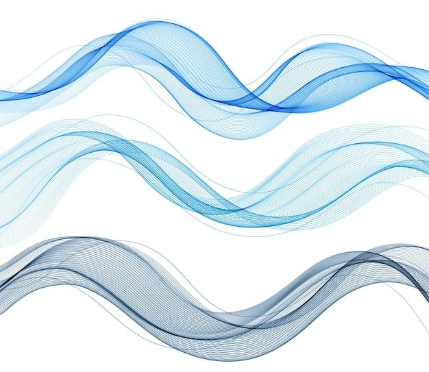 Lignes de vagues fluides colorées abstraites vectorielles isolées sur l'élément de conception de fond blanc pour le concept moderne de science de la technologie