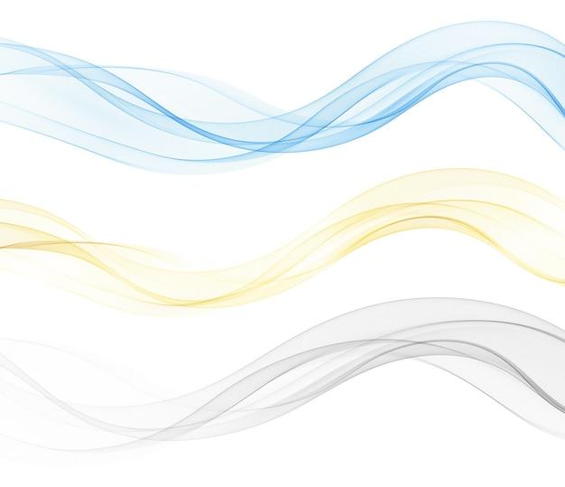 Lignes de vagues fluides colorées abstraites vectorielles isolées sur fond blanc