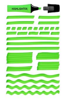 Lignes vertes et gribouillis en couches avec surligneur