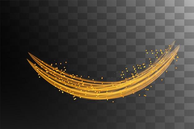 Lignes de vitesse avec effet de lumière en couleur dorée