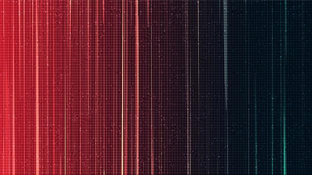 Lignes de vitesse électroniques sur fond rouge et vert, conception de concept de bande dessinée et de mouvement, vecteur.
