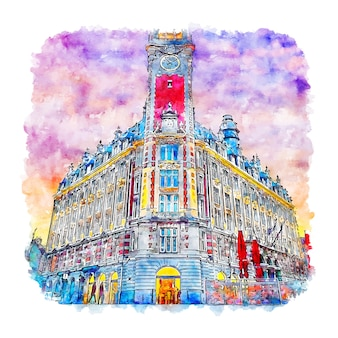Lille france aquarelle croquis illustration dessinée à la main