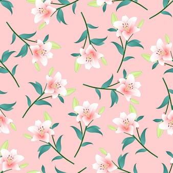Lily rose sur fond rose