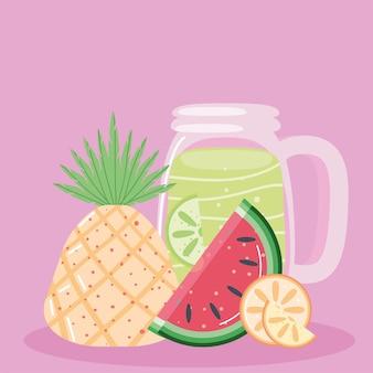 Limonade d'été ananas pastèque citron vert