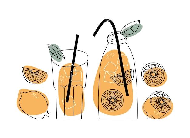Limonade fraîche et ses ingrédients dans le style de croquis de doodle