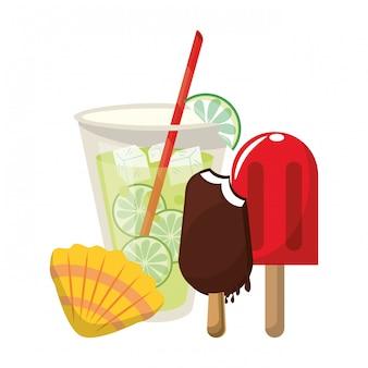 Limonade avec glace à la glace et coquillage
