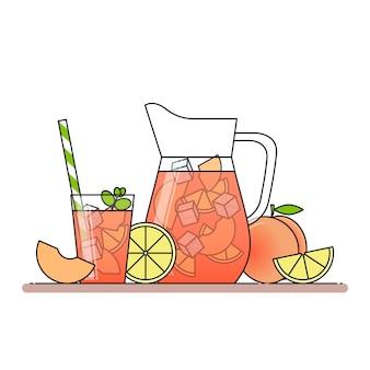 Limonade à la pêche avec des tranches de fruits