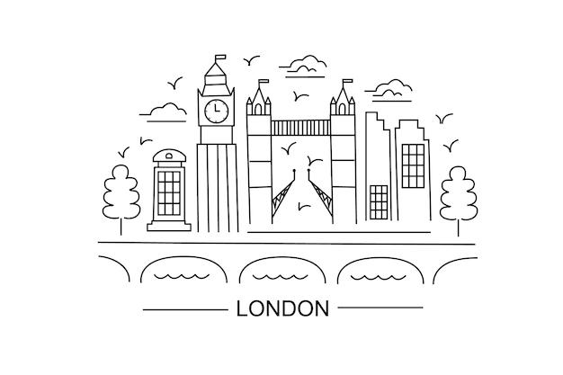 Lindon lineart illustration londres dessin au trait style moderne illustration de la ville de londres croquis à la main