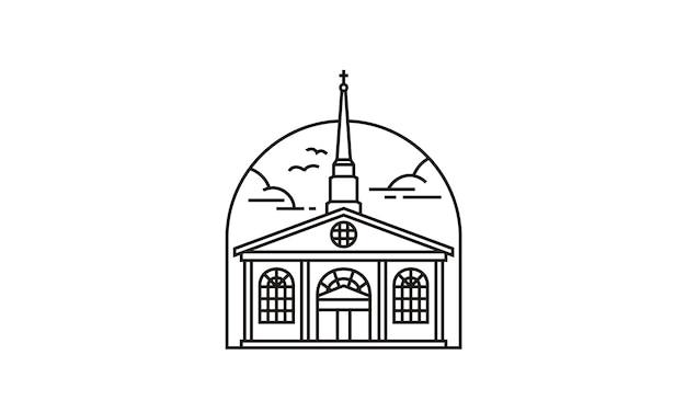 Line art église / christian logo design