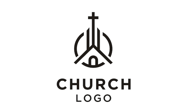 Line art église / christian logo design