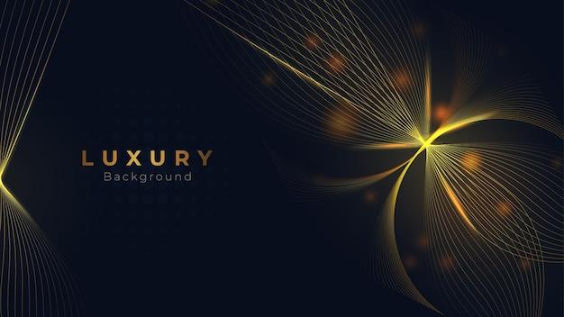 Linéaire doré dégradé avec des formes géométriques abstraites et des lumières scintillantes sur fond beige