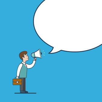 Linéaire ligne plate art style promotion des affaires fond blanc blanc concept de modèle de message de bulle de chat. promo de mégaphone d'homme d'affaires.