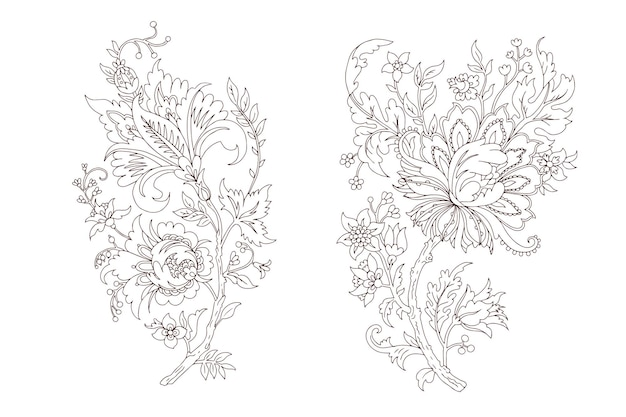 Lineart de branche de vecteur floral décoratif fantaisie