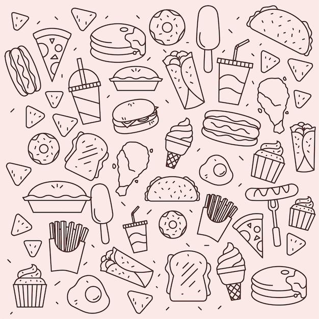 Lineart fast food pattern