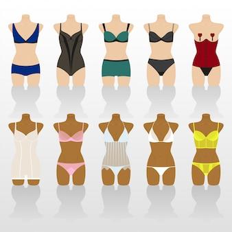Lingerie. sous-vêtements femme sur mannequins. illustration colorée