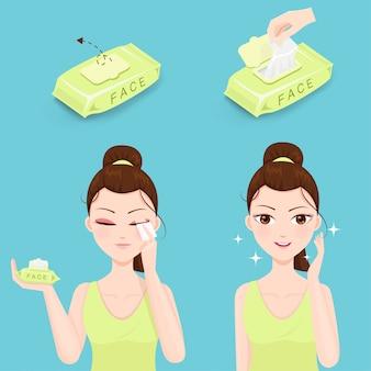 Lingettes humides pour le lavage du visage